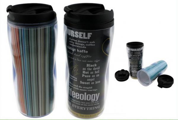 Quality 350Ml Paper Insert Double Wall Plastic Mug For Travel , Screwed Lid for sale