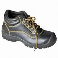 China Genuine Leather Safety Shoes, 39 to 47# Size PU Outsole, Anti-static and Acid-resistant wholesale