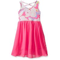 China Floral Top Little Girl Summer Dresses Size 7 Chiffon Criss Cross Back Dress wholesale