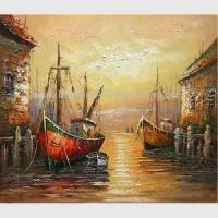 Buy cheap Hand Painted Red Boats Painting by Palette knife, Abstract Acrylic Painting on from wholesalers
