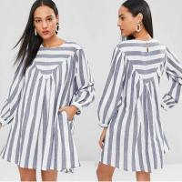 China Fall Clothing Plus Size Gray Striped XL Tunic Mini Dress For Women on sale
