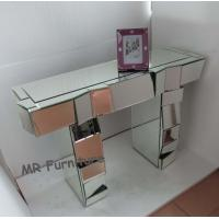Artificial Mirror Furniture Set Angled Facet Glass Mirrored Stand Desk