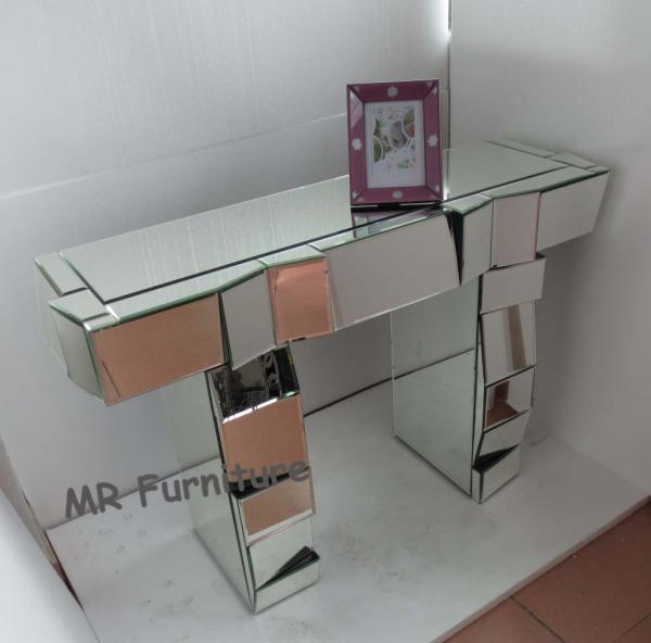 Quality Artificial Mirror Furniture Set Angled Facet Glass Mirrored Stand Desk for sale