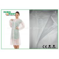 China Economical SMS Nonwoven Disposable Lab Coats with Knitted Collar and Velcro wholesale