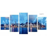 Buy cheap Modern 5 Panel Canvas Wall Art City Sunset Seascape Painting Picture Artwork from wholesalers