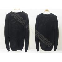 China Solid Black Mens Scoop Neck Sweaters Long Sleeve Wool Pullover for Autumn wholesale