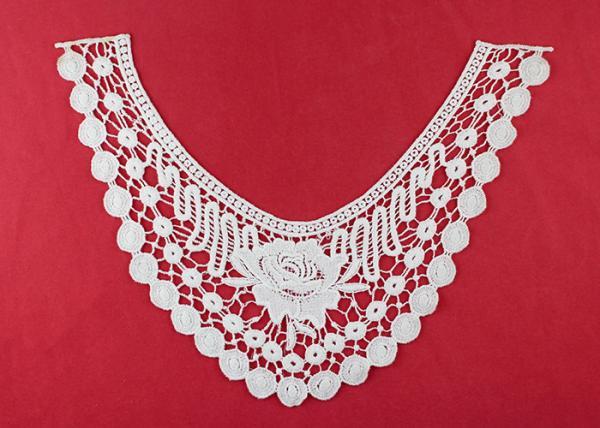 Quality French Venice Guipure Lace Neck Applique With Chemical Poly Milk Silk / Neckline Applique Trim for sale