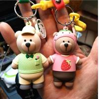 China Custom High Quality 3d Brown Bear Doll Keychain Key Holder With Silicone Wristband, Different Design Available wholesale