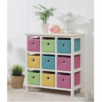 China Wood Chest Drawer Cabinet with Colorful Baskets wholesale