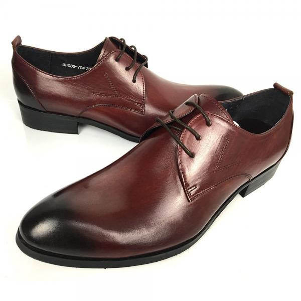 Quality Wine Red Rismart Mature Men's Oxfords Shoes Stylish Dress Leather Shoes for sale