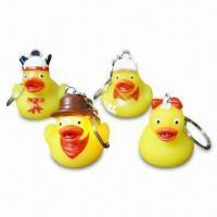 China Flashing Duck Keychains, Made of Metal and PVC, Nontoxic wholesale