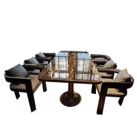 China Marble Restaurant Patio Furniture , Rectangular Square Marble Top Dining Table wholesale