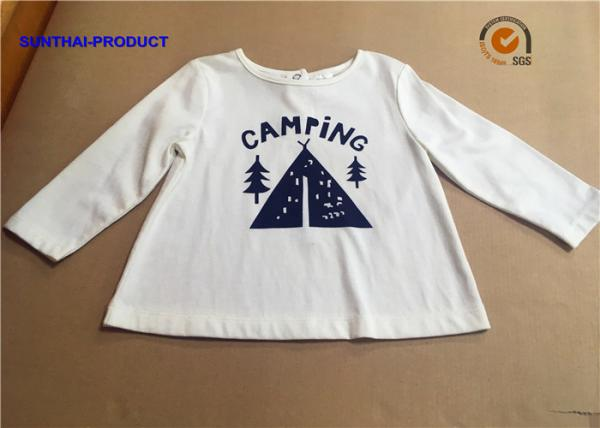Quality Stylish Plain Infant T Shirts , Screen Print Back Placket Baby White Long Sleeve Shirt for sale