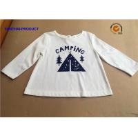 China Stylish Plain Infant T Shirts , Screen Print Back Placket Baby White Long Sleeve Shirt wholesale