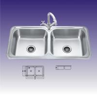 China Polished 2 Bowl Stainless Steel Kitchen Sinks , Custom Design 440 X 400mm wholesale