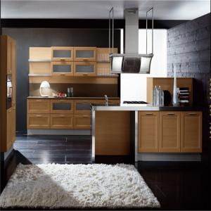 China Apartment kitchen cabinet antique kitchen cabinets birch wood kitchen cabinet wholesale