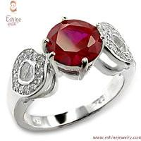China Manufacture & export Garnet Gemstone brass ring jewelry with clear CZ on double shoulders wholesale