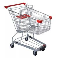 China 125 Litres Solid Metal Grocery Shopping Trolley Powder Plated With Tube Chassis wholesale