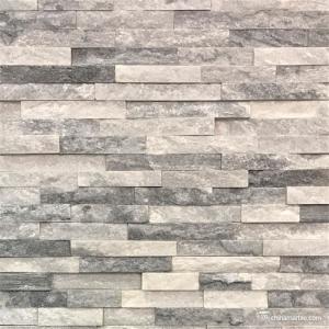 Slate Culture Stone Cloudy White/Grey Quartzite Ledge Stone , China Wall Stone Cladding WPB-69