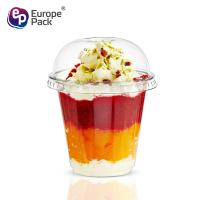 China Party supplies disposable dessert tools clear PET cup with dome lid wholesale