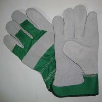 China Grey Cow Split Leather Working Glove with Green/ Grey/ Red Fabric Back and Half Lining, on sale