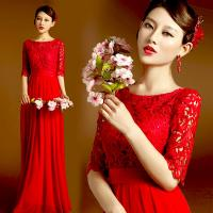 China Red Lace Half Sleeveless Floor Length Bridal Dress Gorgeous Evening Dress TSJY145 wholesale