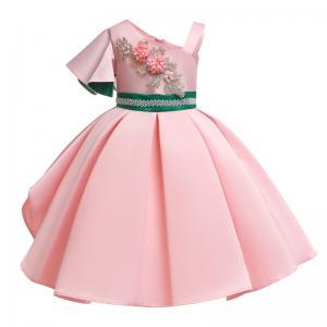 China Fashion Single Sleeve Flower Girl Dress Single Shoulder Green Pearl Belt Dress Christmas Vestido Kids Dresses For Girl wholesale