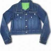 China Fashionable Casual Denim Jacket with Metal Snap Closure, Made of 100% Cotton wholesale