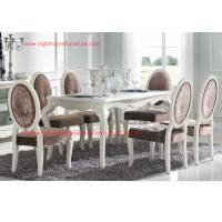 China Ivory Neoclassical Dining Room Furniture collection by rubber wood with Glass or Marble table top on sale