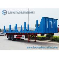 China Two Axles Flatbed Semi Trailer , 40 Ton Heavy Timber Log Loading Trailer on sale