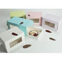 China Custom Bakery Swiss Roll Paper Cake Boxes , Transparent Food Packing Boxes wholesale