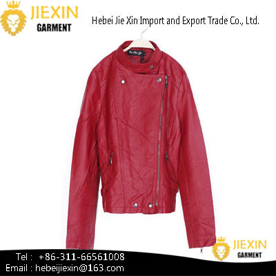 Quality Hot Sexy Lady Red Motorcycle PU Leather Jacket for sale