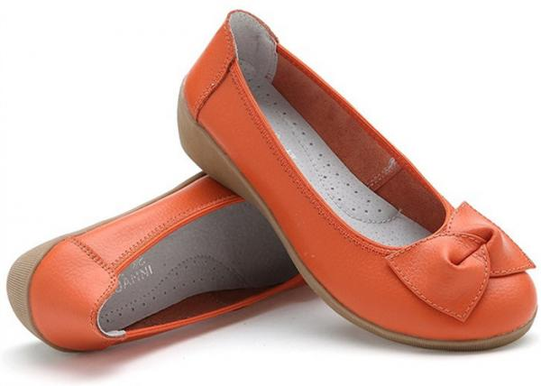 Quality Spring Comfortable Casual Shoesleather Nurse Slope With Flat Rubber Sole And Bowknot for sale