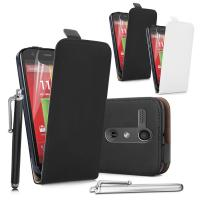 China Motorola Moto G Real Genuine Leather flip Phone cases Covers black and white wholesale