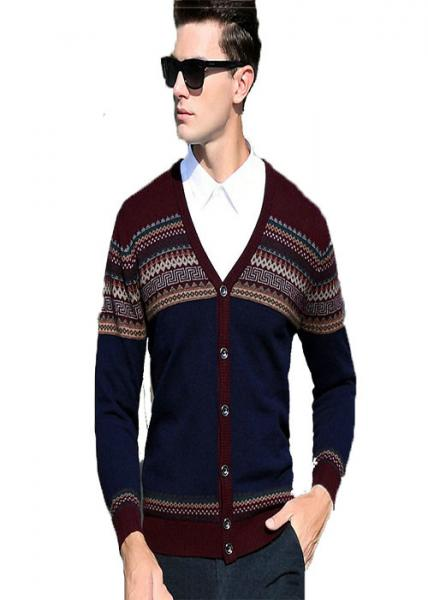 Quality New Arrival V Neck Mens Knit Sweater 100% Wool Material Soft Comfortable Feeling for sale