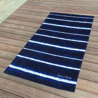 China Soft Promotional Mens Beach Towel / Striped Beach Towels Blue And White wholesale