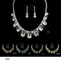 China Elegant Glass JEWELRIES Silver PLATED Fashionable JEWELRY Set Party & Bridal Jewelry wholesale
