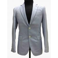 China Light Gray Tailored Mens Tight Fit Suits Serge Pattern Flaps Pockets Formal Wear wholesale