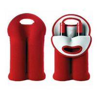 China Hot-selling Neoprene Durable Wine holder Water bottle bag two-Bottle holder in different colors wholesale