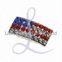 China Metal Hair Clip with Crystal Rhinestones, Various Sizes Available wholesale