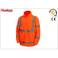 China Long Sleeves Plus Size Polar Fleece Jacket Hivis Reflective Tapes , One Chest Pocket wholesale