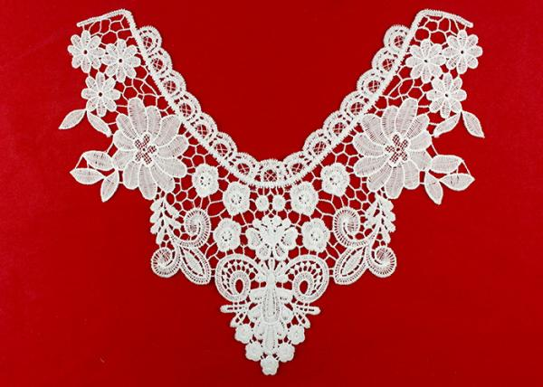 Quality White Embroidery Guipure Lace Collar Applique With DTM Poly Milk Silk Azo Free for sale