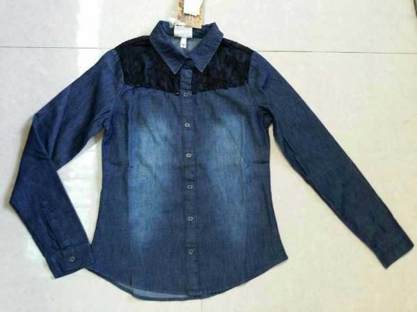 Quality Cheap Girl full sleeve denim shirt with lace,slim cutting girl's jeans blouse stock lots for sale