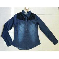 China Cheap Girl full sleeve denim shirt with lace,slim cutting girl's jeans blouse stock lots wholesale