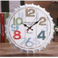 China 35cm Round France Cafe Beer Bottle Cap Wall Clocks Antique Decoration Bottle Cap Iron Wall Clock Living Room Bar Decor on sale