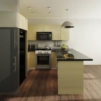 China Wood Grain Modular Melamine Kitchen Cabinets With Black Quartz Countertops Contemporary Style wholesale