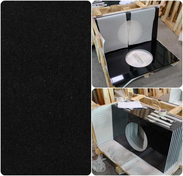 Quality Black Natural Granite Countertops , High Density Solid Black Granite Countertops for sale