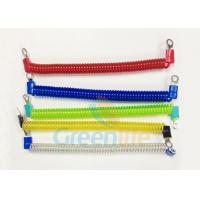 China Coloured Steel Wire Retractable Coil Cord With Eyelet Terminals / Protectors wholesale