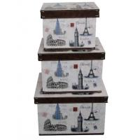 China Handmade Paris Floral Design Wooden Storage Boxes , MDF + Printed Canvas / Grossy Lamination on sale