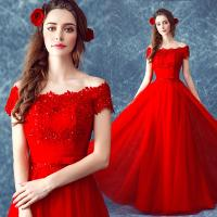 China Red Flower And Lace Off The Shoulder Gorgeous Evening Dress TSJY090 wholesale